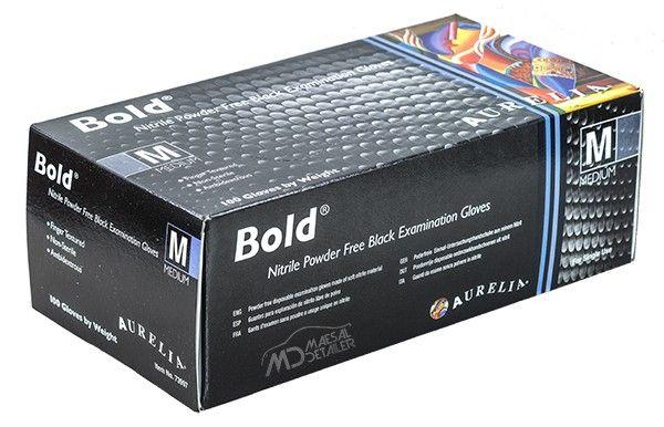 Aurelia Bold 100 uds - Guantes de nitrilo negros de máxima calidad