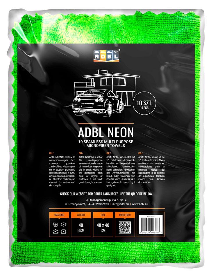 ADBL NEON Kit de 10 toallas de microfibras multiusos sin costuras 40x40 cm